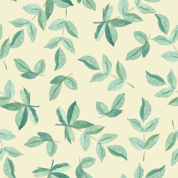 Seamless pattern watercolor of green leaves Premium Photo