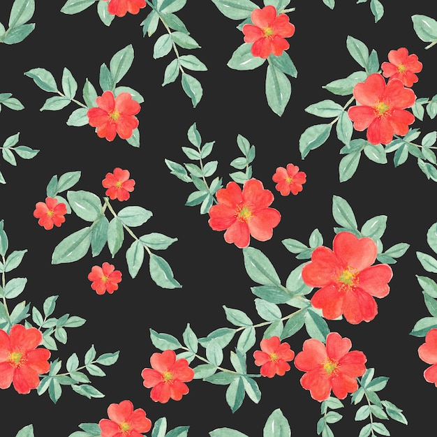 Seamless pattern watercolor of red rose and green leaves on black Premium Photo
