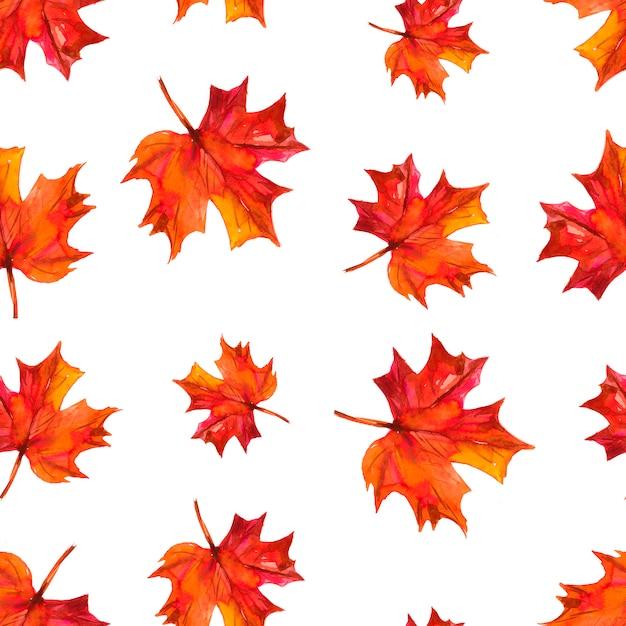 秋の紅葉とのシームレスなパターン。水彩イラスト Premium写真
