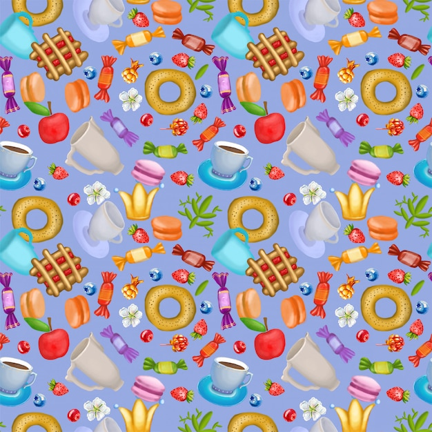 Seamless pattern with berries, sweets and flowers Premium Photo