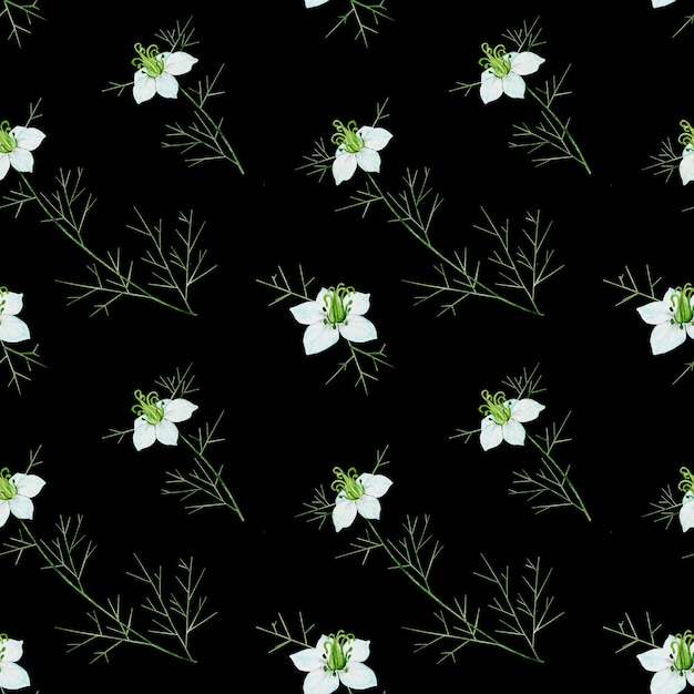 黒の背景にクミンの花とのシームレスなパターン Premium写真
