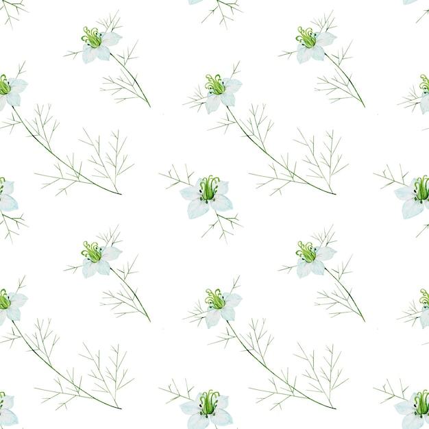 白い背景の上のクミンの花とのシームレスなパターン Premium写真
