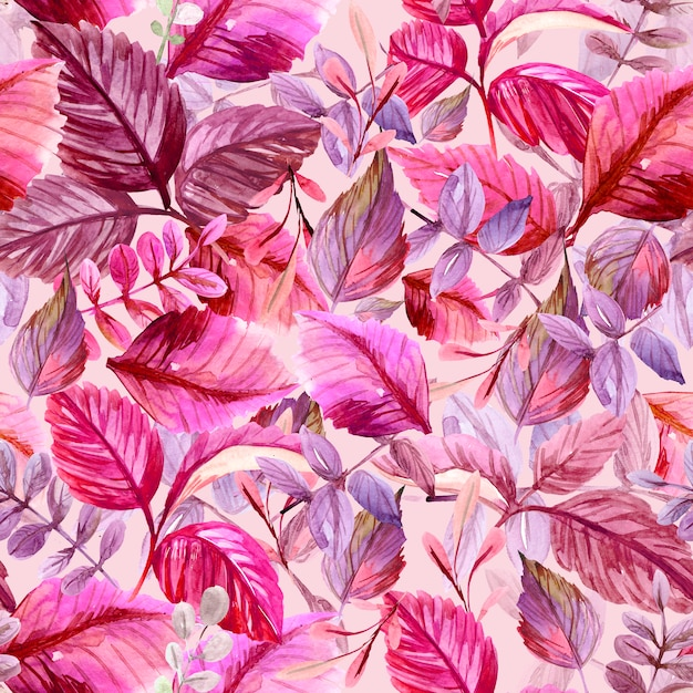 Seamless pattern with leaves. watercolor illustration Premium Photo