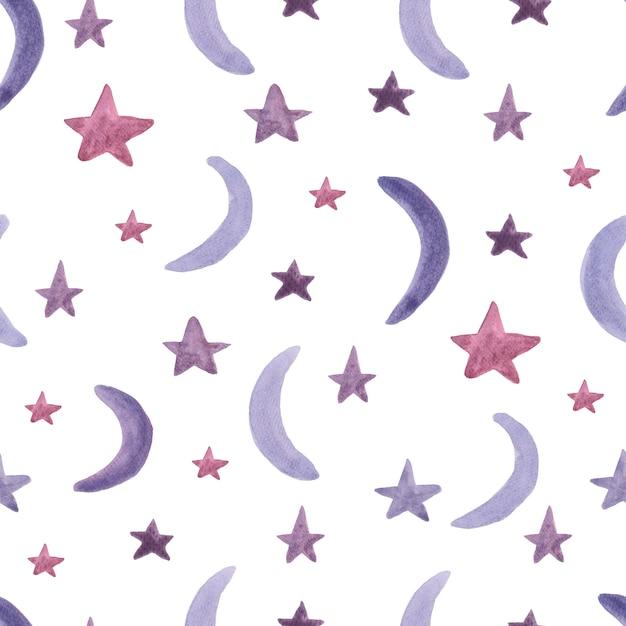 星と月とのシームレスなパターン。水彩絵の具。 Premium写真