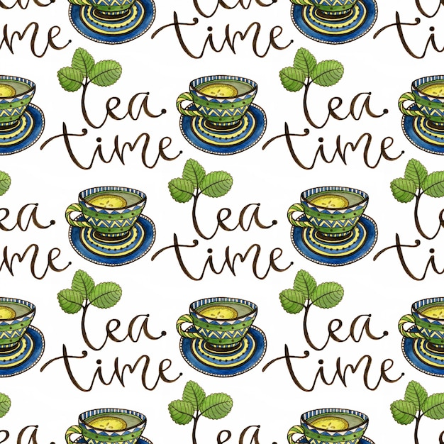 Seamless pattern with tea cups and calligraphy decoration. Premium Photo