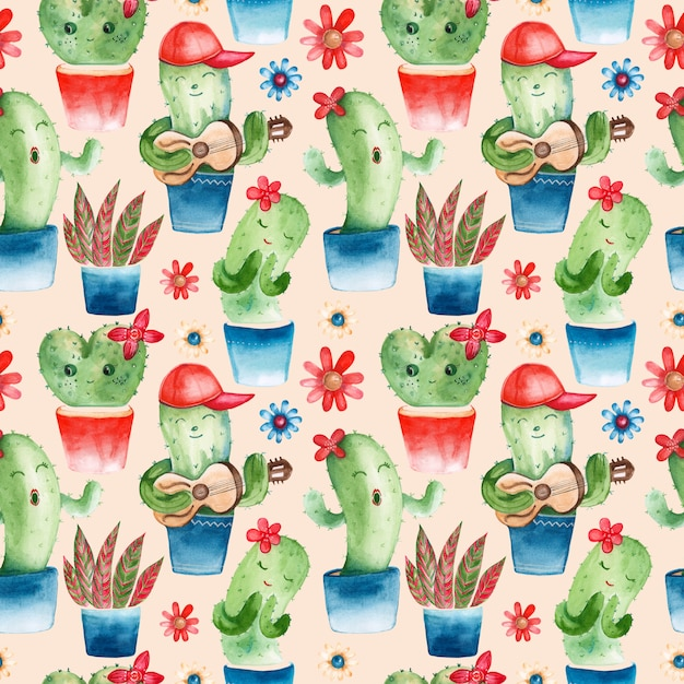 Seamless pattern with watercolor cacti characters Premium Photo
