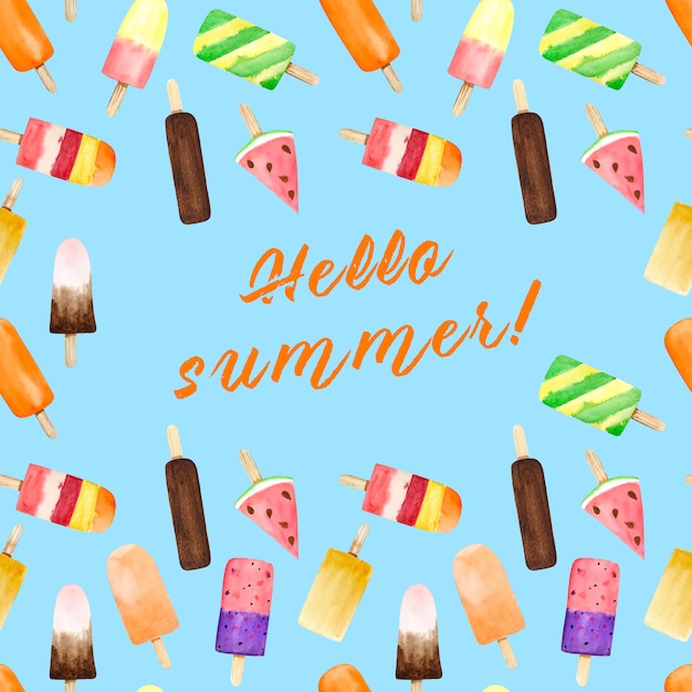 Seamless pattern with watercolor ice cream on blue background with summer text. Premium Photo
