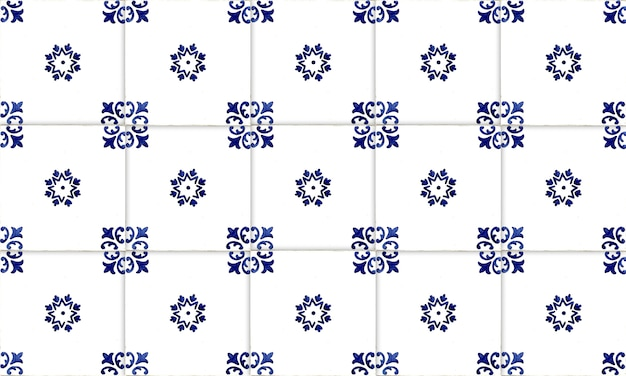 Seamless portugal or spain azulejo tile background. high resolution. Premium Photo