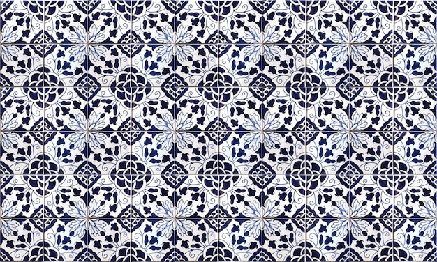 Seamless portugal or spain azulejo tile background Premium Photo