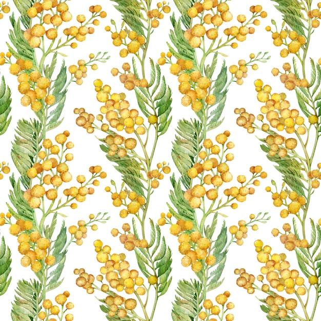 ミモザの小枝とのシームレスな春パターン。水彩の黄色い花 Premium写真