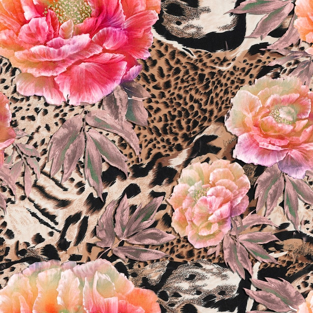 Seamless textile background of wild african animal skin with beautiful red and pink peonies Premium Photo