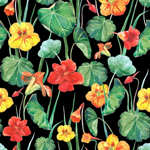 Seamless watercolor fabric background of nasturtium flowers and leaves Premium Photo