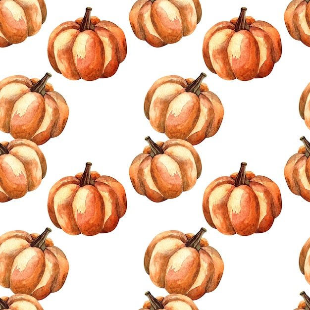 白い背景の上のオレンジ色のカボチャとシームレスな水彩パターン、野菜と水彩イラスト Premium写真