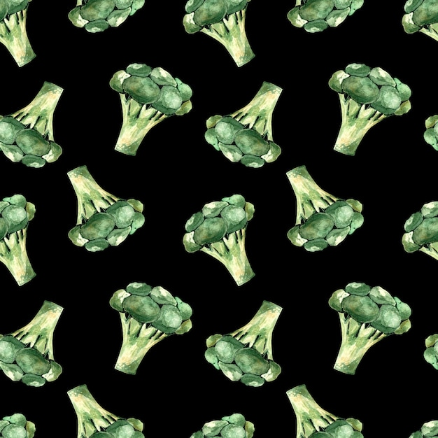黒の背景にブロッコリーとシームレスな水彩パターン、野菜のイラスト Premium写真