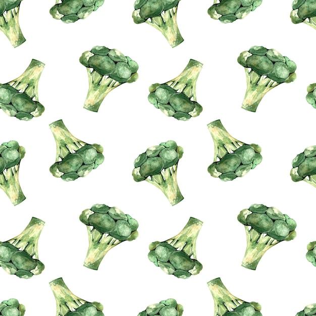 白い背景の上のブロッコリー、野菜のイラストとシームレスな水彩パターン Premium写真