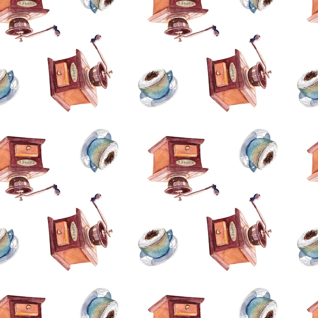 Seamless watercolor pattern with cups of coffee and coffee grinder. Premium Photo