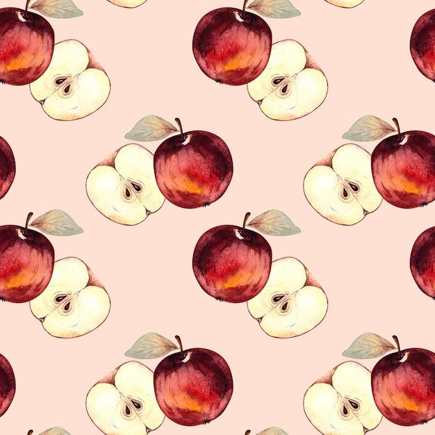 ピンクの背景に赤いリンゴとリンゴのスライスとのシームレスな水彩パターン。 Premium写真