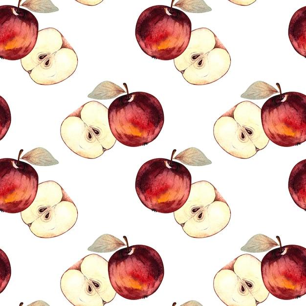 白い背景の上の赤いリンゴとリンゴのスライスとのシームレスな水彩パターン。 Premium写真