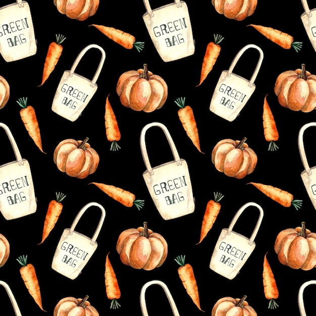 Бесшовный акварельный образец с хозяйственной сумкой и овощами, акварель на черном фоне, тыква, морковь. Premium Фотографии