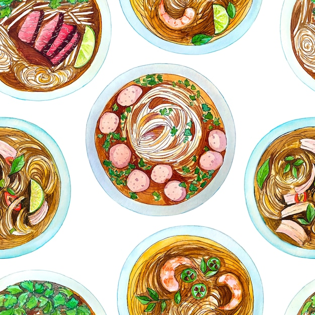 Seamless watercolor pattern with vietnamese soup pho, top view. Premium Photo