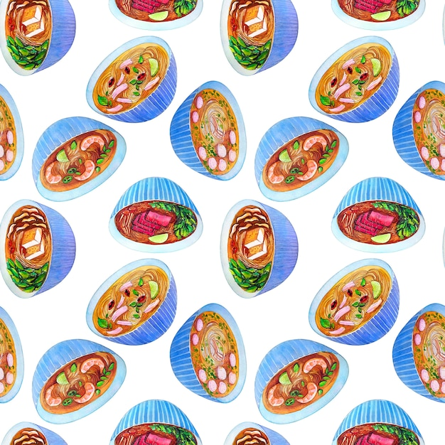 Seamless watercolor pattern with vietnamese soup pho. Premium Photo