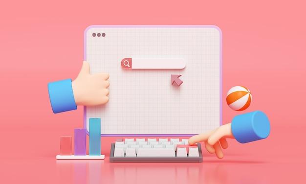 検索バーのウェブページ。 web検索の概念で検索するために入力する手。 3dレンダリング Premium写真