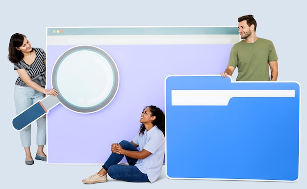 Search engine and file browsing concept Premium Photo