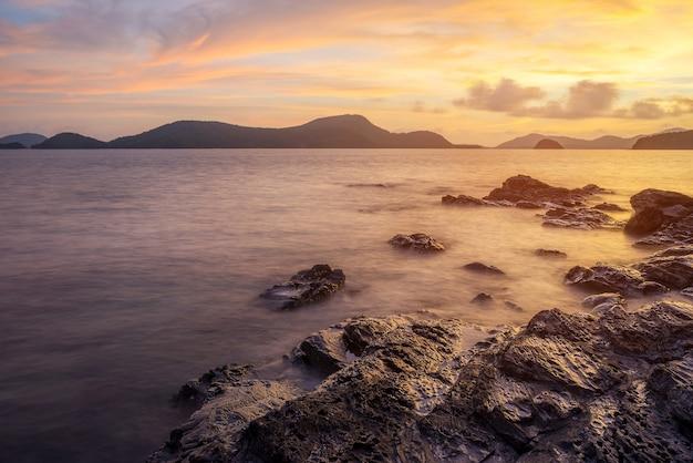 Seascape and beach sand landscape nature in twilight Premium Photo