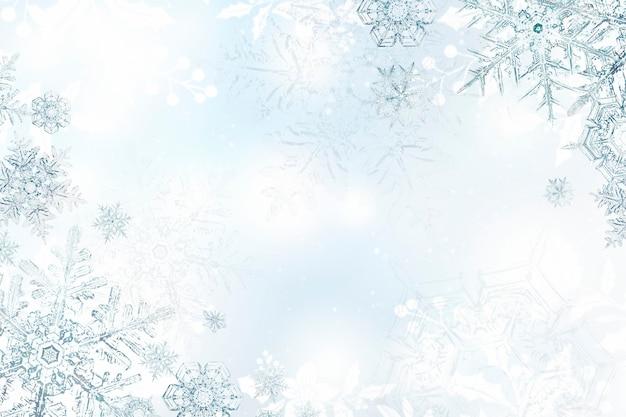 Season's greetings snowflake christmas frame, remix of photography by wilson bentley Free Photo