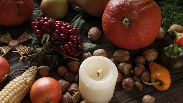 感謝祭の季節の食材。 Premium写真