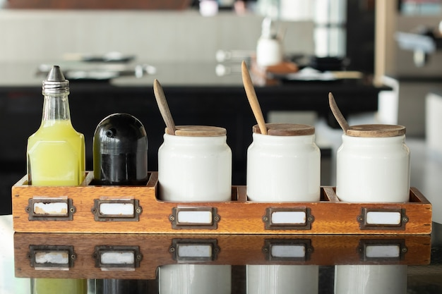 Seasoning condiment food delicious on table Premium Photo