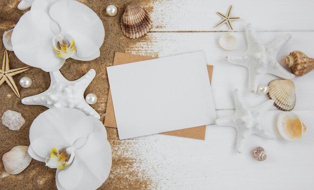 Раковины, seastars и чистая открытка Premium Фотографии
