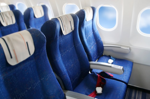 Seat rows in an airplane cabin Premium Photo