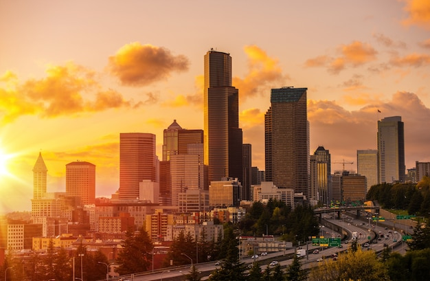 Seattle scenic sunset Free Photo