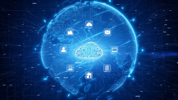 Secure digital data network. digital cloud computing cyber security concept Premium Photo