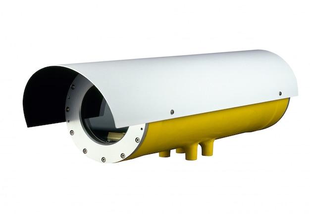 Security camera on white Premium Photo