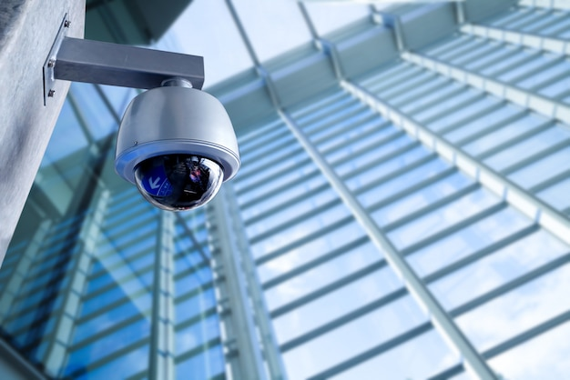 Security cctv camera in office building Premium Photo