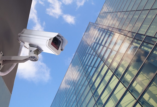Security cctv camera in office building Premium Photo