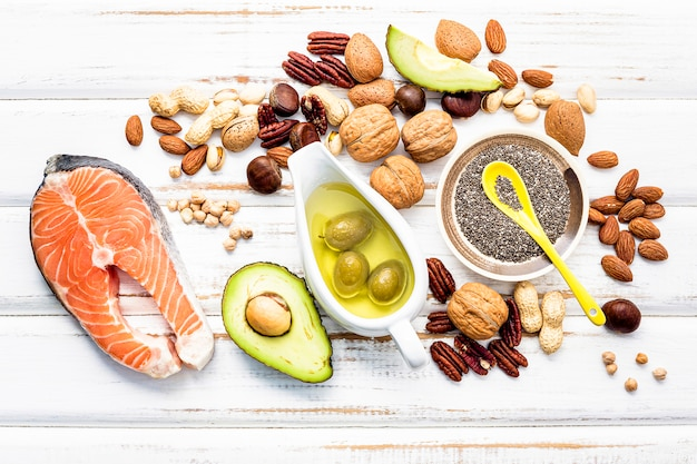 Selection food sources of omega 3 and unsaturated fats. Premium Photo