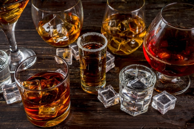 Selection of hard strong alcoholic drinks Premium Photo