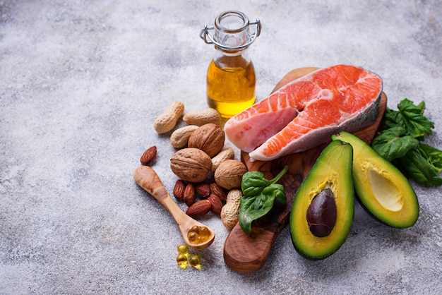Selection of healthy fat and omega 3 sources. Premium Photo