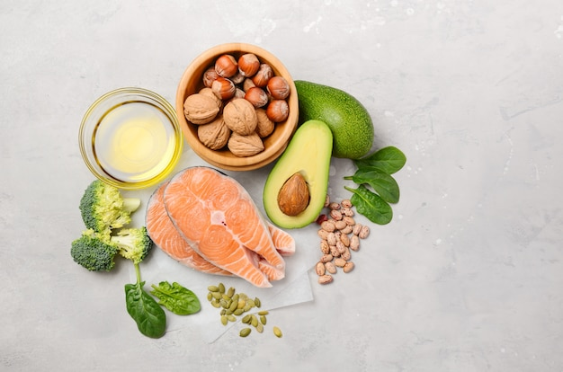 Selection of healthy food for heart, life concept, top view, flat lay, copy space. Premium Photo