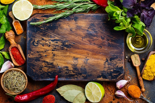 Selection of herbs and spices Premium Photo