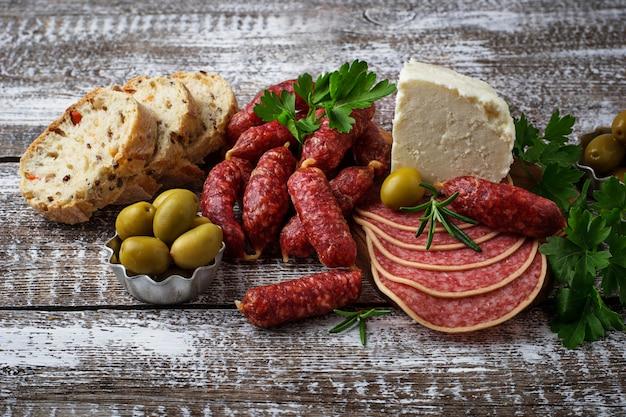 Selection of italian appetizer. wine snack set. Premium Photo