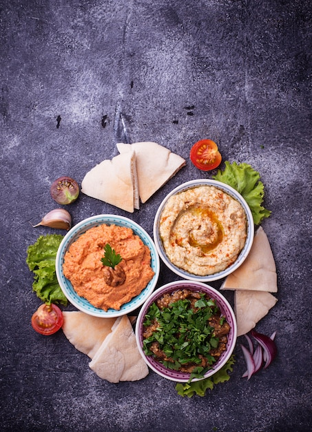 Selection of middle eastern or arabic appetizers Premium Photo