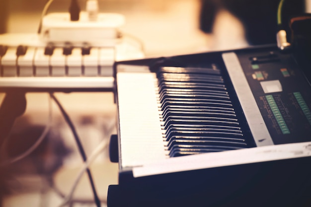 Selective focus of piano keyboard or piano instrument  Photo