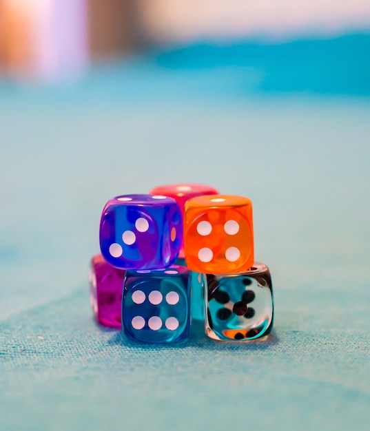 Selective focus shot of several dices on the table Free Photo