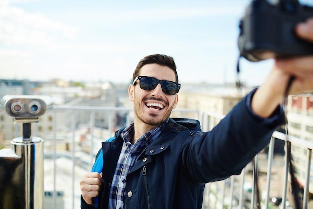 Selfie of backpacker Free Photo