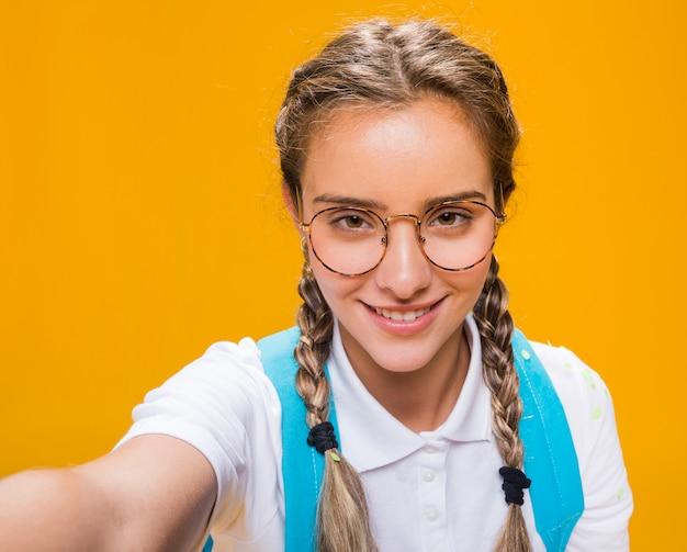女子高生のselfieの肖像画 無料写真