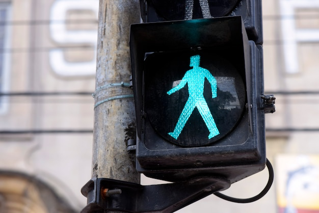 Semaphore on green for pedestrian Premium Photo